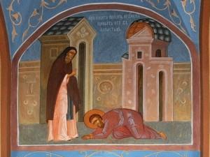 Прп. Никита Столпник просит игумена принять его в монастырь