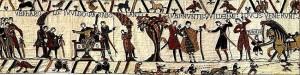 Фрагмент гобелена из Байе — памятника средневекового искусства, представляющего собой вышивку по льняному полотну шириной 48/53 см и длиной 68,38 м. Гобелен создан в конце XI века. Он изображает сцены подготовки нормандского завоевания Англии и битвы при Гастингсе. В настоящее время гобелен выставлен в специальном музее в городе Байе, в Нормандии, и относится к национальному достоянию Французской республики. В 2007 году ЮНЕСКО включила гобелен из Байе в реестр «Память мира».